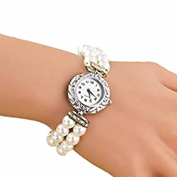 AmyDong Pearl Fashion Student Beautiful Watch Womens Classic Gold Quartz Stainless Steel Wrist Watch Bracelet (White)