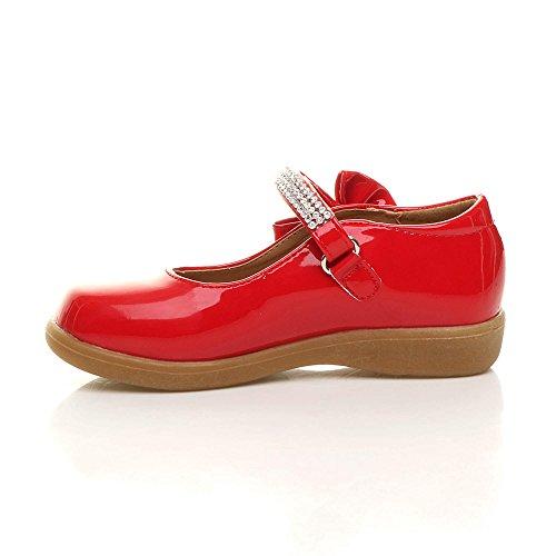 Mädchen Kleine Absatz Flach Mary Jane Schleife Strass Brautjungfer Elegant Fesch Schuhe Größe Rot Lack