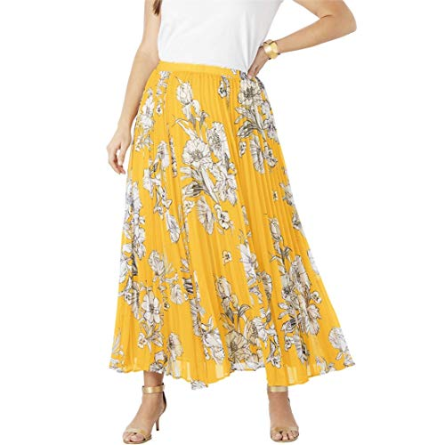 Jessica London Women's Plus Size Pleated Maxi Skirt - Yellow Sketch Floral, 24 W