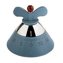 Alessi - Kitchen Timer A09 -Temporizador Cocina con Movimiento Mecánico de Diseño, en Resina Termoplástica, Azul