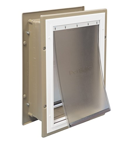 PetSafe Wall Entry Aluminum Pet Door with Telescoping Tunnel, Taupe and White, (Plastic Frame Small Door)