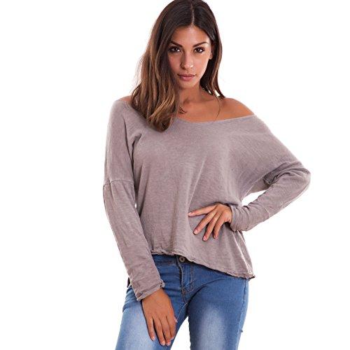 Toocool - Camiseta de manga larga - para mujer barro