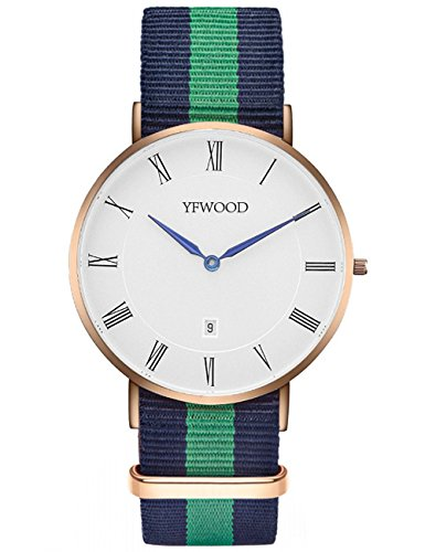 Quartz Watch Nylon Band Unisex Wrist Watch Classic Casual Waterproof Watch Round Dial Business Watch by THAITOO (Image #1)'
