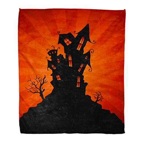 Emvency Flannel Throw Blanket Silhouette Black House Haunted Mansion Orange Halloween Clip Clipart Soft for Bed Sofa and Couch 50x60 Inches ()