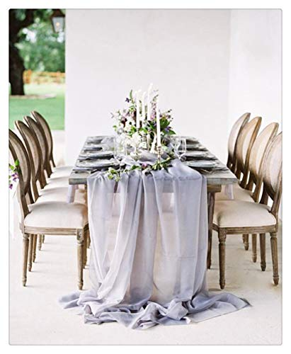 SoarDream 1 Piece Gray Chiffon Table Runners 27x120 inches Sheer Table Runner Wedding Reception Top Table -