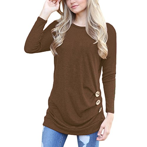 Womens Round Neck Casual Side Slits Long Tops (Coffee) - 8