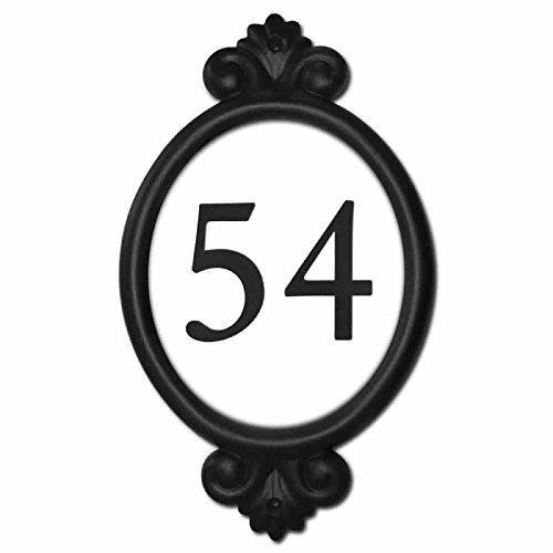 Sight Lights Customized Engraved Address Signs, Black Frame, White Background - Black Numbers, Classic Frame Style, Numbers only