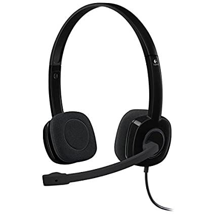 94fde571378 Amazon.com: Logitech 3.5 mm Analog Stereo Headset H151 with Boom Microphone  - Black: Computers & Accessories