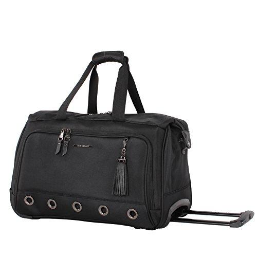 Steve Madden Luggage Suitcase Wheeled Duffle Bag (B-Social Black)