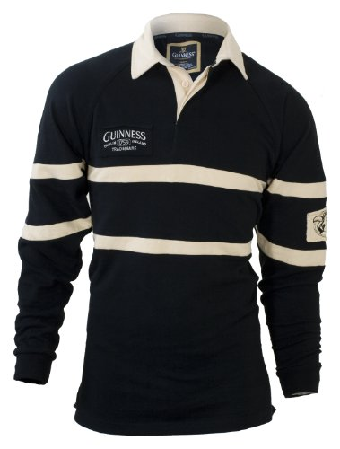- Guinness Traditional Rugby Jersey - Black & Cream, 4XL