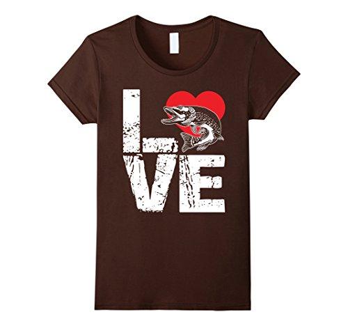 Womens Muskie Shirt - Love Muskie Fish T shirt Large (Muskie Fish)