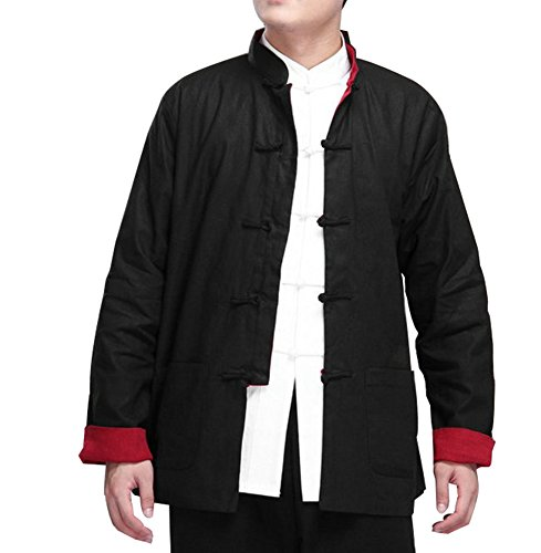 ZooBoo Kung Fu Jacket Both Sides Wear Tops Martial Arts Long Jersey (M, Black with ()