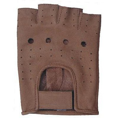 Premium Brown Leather Fingerless Glove W/Vented Back AL-3010-M