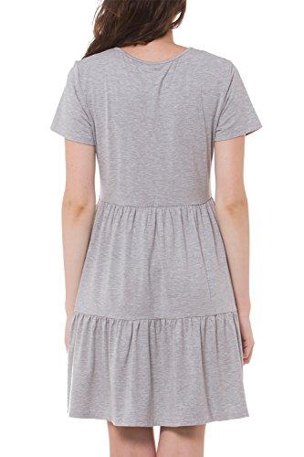 Shirt Grey Sleeveless T Short Top Casual Voqoomkl Dress Swing Plain Women's Summer 8wnqPfPRx