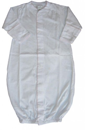 Kissy Kissy Baby Signature Convertible Gown-White with Pink-Newborn
