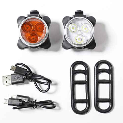 Absolute AMZ Rechargeable LED Bike Light Set – 4 Light Modes, Easy to Install, Front Light and Rear Light Set, LED Bicycle Lights, Best Bike Lights with Charging Cables