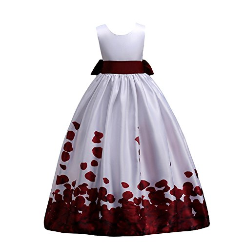 IBTOM CASTLE Little Big Girls Long First Communion Princess Fall Dresses 7-16T Flower Pageant Party Wedding Bridesmaid Back to School Burgundy 12-13 Years