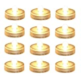 Bright LED Battery Operated Flameless Tea Light, Submersible Tea Candle Waterproof Decorations Underwater Vase Light for Party and Wedding, Pack of 12, Warm White