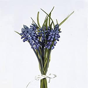 FloristryWarehouse Artificial Muscari or Grape Hyacinth Bundle Blue 10 Inches Satin Tie 13
