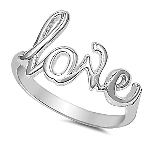 (CloseoutWarehouse Sterling Silver Love in Script Ring Size 6)