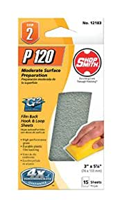 "Ali Industries Inc 12183 ""Shopsmith"" G2 Hook & Loop Sandpaper Block Refill 3""x5-1/4"", 120# Grit, Pk/15"