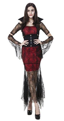 Bigood Spider Black Vampire Cosplay Costumes Halloween Queen Fancy Dress (Vampire Fancy Dress Women)