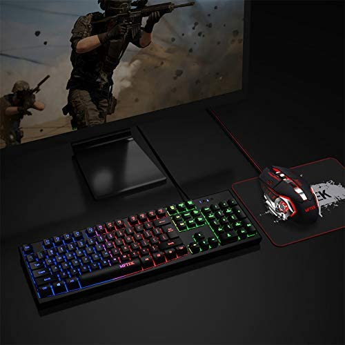 Rainbow Gaming Keyboard and Mouse Combo, MFTEK Wired RGB Backlit Gaming Keyboard and four Color Lighted Gaming Mouse Set with Mouse Pad for Computer PC Gamer Laptop Work
