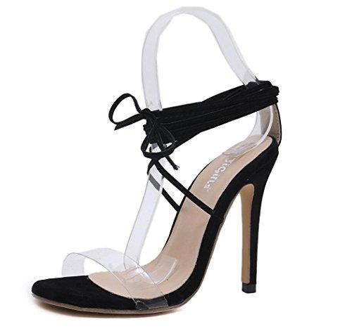 Sandalias de Las Mujeres de Tacón Alto Zapatos de Verano Sandalias de Correa de Tobillo del Estilete del Dedo del pie Abierto Zapatos Negros Tamaño 35-40 Negro