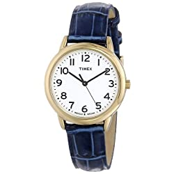 Timex Women's T2N954 South Street Blue Croco Pattern Leather Strap Watch