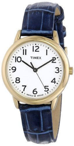 Timex Women's T2N954 Elevated Classics Gold-Tone Watch with Blue Leather Strap - Watches Timex Women