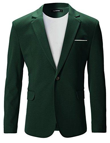 FLATSEVEN Mens Slim Fit Casual Premium Blazer Jacket (BJ102) Green, S