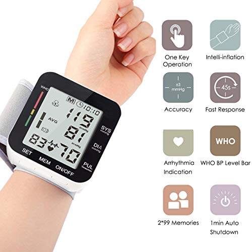Automatic Wrist Blood Pressure Monitor Voice Broadcast High Blood Pressure Monitors Portable LCD Screen Irregular Heartbeat Monitor with Adjustable Cuff and Storage Case Powered by Battery – Black