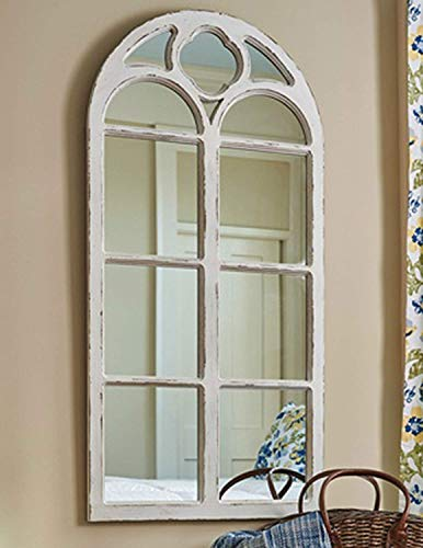 Shabby Chic Distressed White Wood Window Mirror with Arched Top, 47.25