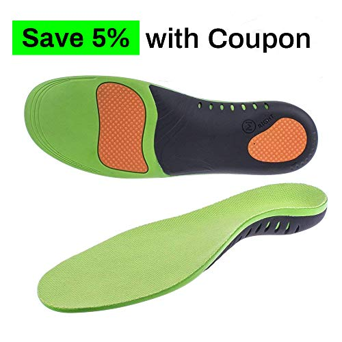Arch Support Insole Orthotic Inserts for Plantar Fasciitis Full Length Insoles Running Flat Feet Heel Spurs & Foot Pain for Men & Women ((1 Pair) M Size Women 9.5-11 / Men 8.5-10)