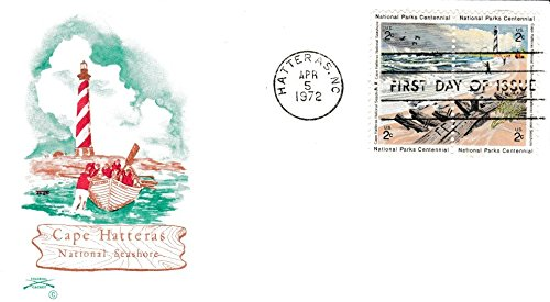 United States Scott 1451a 2c Cape Hatteras National Parks Se-Tenant Block 1972 Hatteras, NC First Day of Issue. Colonial cachet. (Cape National Parks)