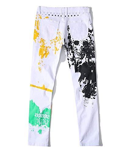 Uomo Elasticizzati Vintage Stampati Pantaloni A In Denim Dritta Ragazzi Morbidi Gamba Jeans Comodi Da Classiche Bianca Ufig Casual WqIndIE