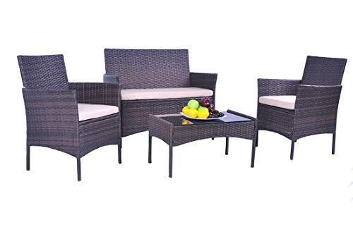 - UFI 4PCS Outdoor Patio Furniture Sets Rattan Chair Wicker Set, Use Backyard Porch Garden Poolside Balcony RTA Furniture, Brown