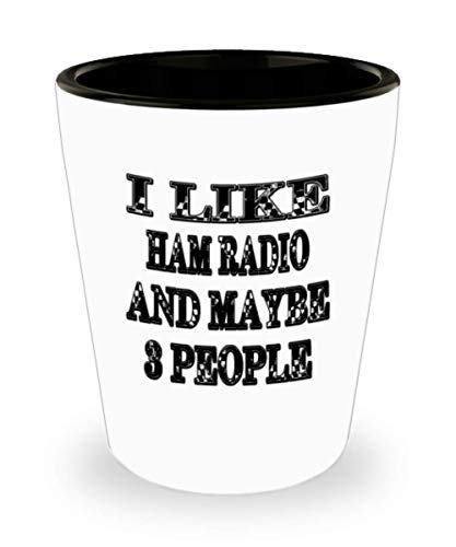 Funny Ham Radio Gifts White Ceramic Shot Glass - Maybe 3 People - Best Inspirational Gifts and Sarcasm ak9764 ()