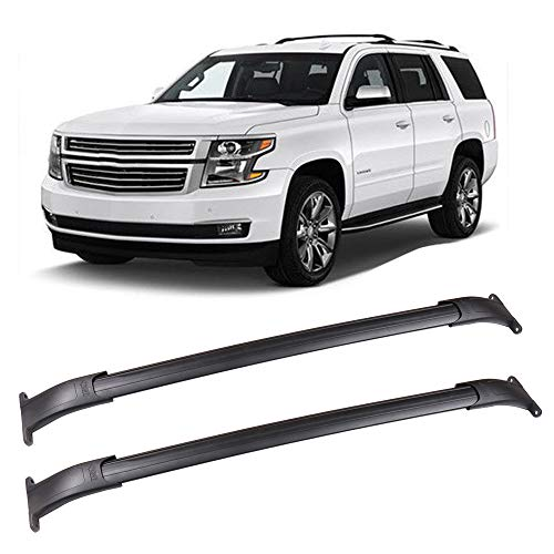 LUJUNTEC Aluminum Roof Mounted Roof Rack Cross Bar Set Fit for 2015-2018 GMC Yukon/Chevrolet Tahoe/Chevrolet Suburban/Cadillac Escalade Top Rail Carries Luggage Carrier ()