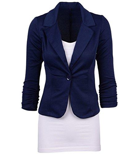 Smile YKK Tailleur Femme Chic Costume Veste Courte Manteau Manches Longues Bouton Amincissant Bleu Fonc