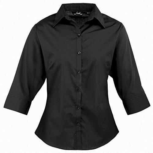 (Premier Women's 3/4 sleeve poplin blouse Black* 22)