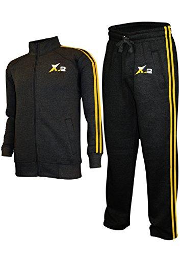 (X-2 Mens Athletic Full Zip Fleece Tracksuit Jogging Sweatsuit Activewear Char XXL)