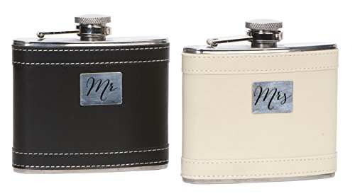 C.R. Gibson WFD-14330 True Love Stainless Steel Wedding Flask Duo, (Marriage Blessing Plate)