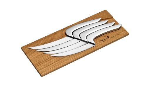 Deglon 4-Piece Oak Base Meeting Steak Knives Set by Deglon