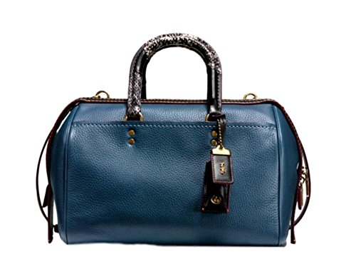COACH Glovetanned Pebble Leather Snakeskin Handle Rogue Satchel in Dark Denim / Old Brass 58690