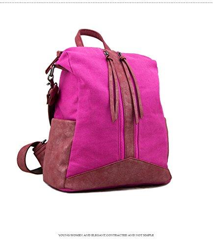 WTUS Mujer Europa y gran capacidad de bolsos de moda nueva hombros de bolsa de lona con Pu clásico Rojo