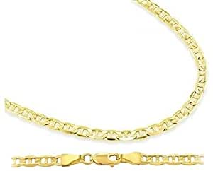 14k Yellow Gold Mariner Chain Solid Necklace Links 2.1mm , 16 inch