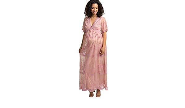 7e6b8cb979485 PinkBlush Maternity Lace Mesh Overlay Maxi Dress at Amazon Women's Clothing  store: