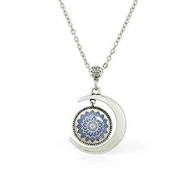 Wholesale WUSHIMAOYI Moon necklace Navy Mandala necklace Mandala pattern pendant ornamental jewelry gifts for cheap