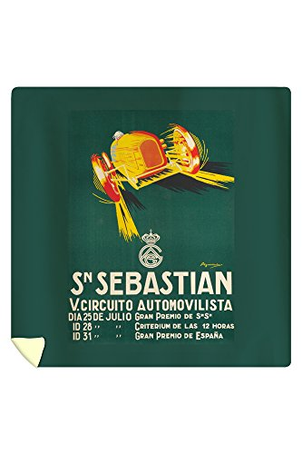 Sn Sebastian - V Circuito Automovilista Vintage Poster (artist: Aguirreche) Spain c. 1927 (88x88 Queen Microfiber Duvet Cover) by Lantern Press
